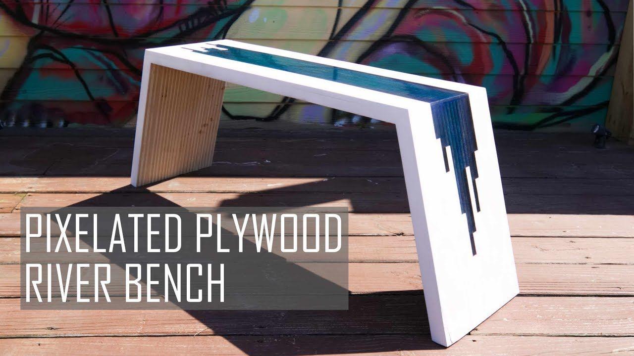 Diy Pixelated River Bench Plywood Epoxy Resin