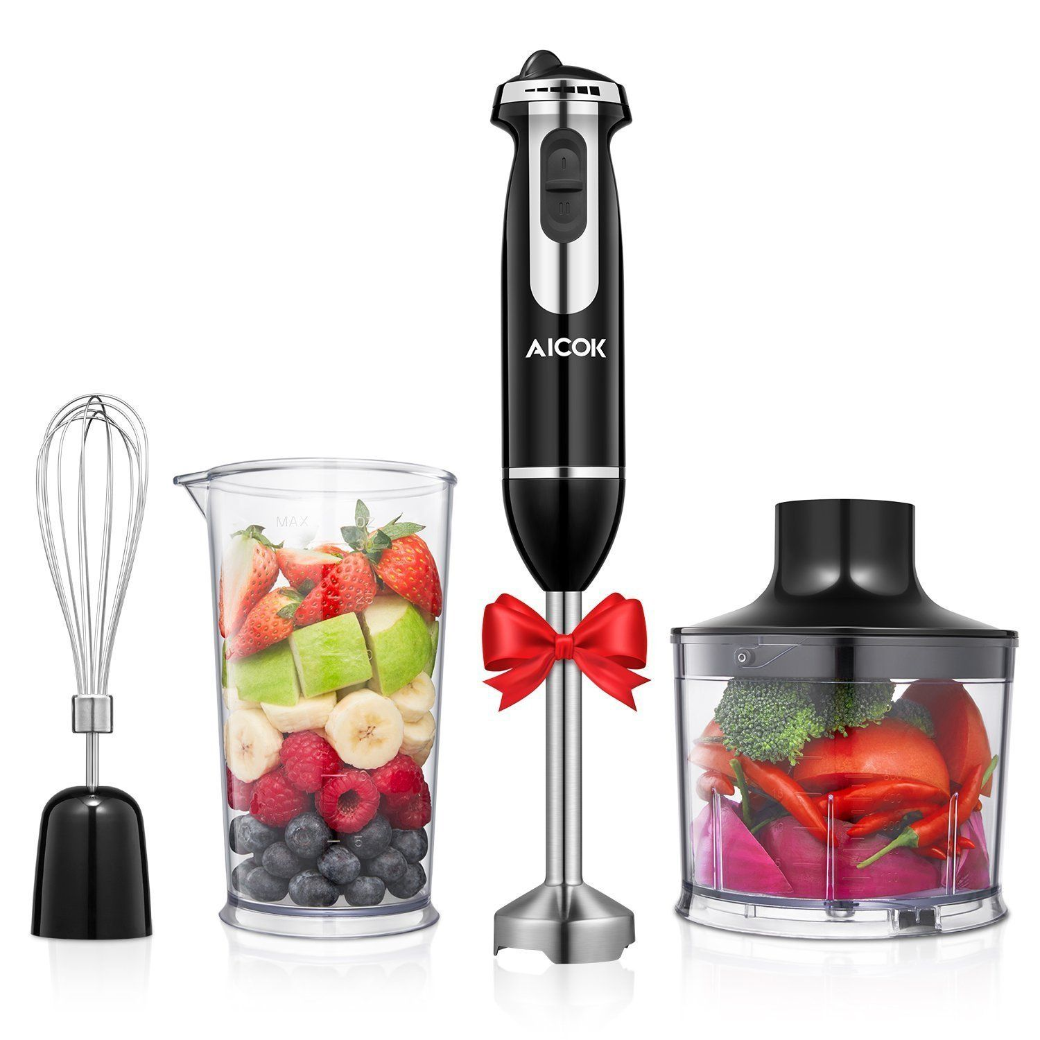 Aicok immersion 4in1 stick blender with 6 speed control