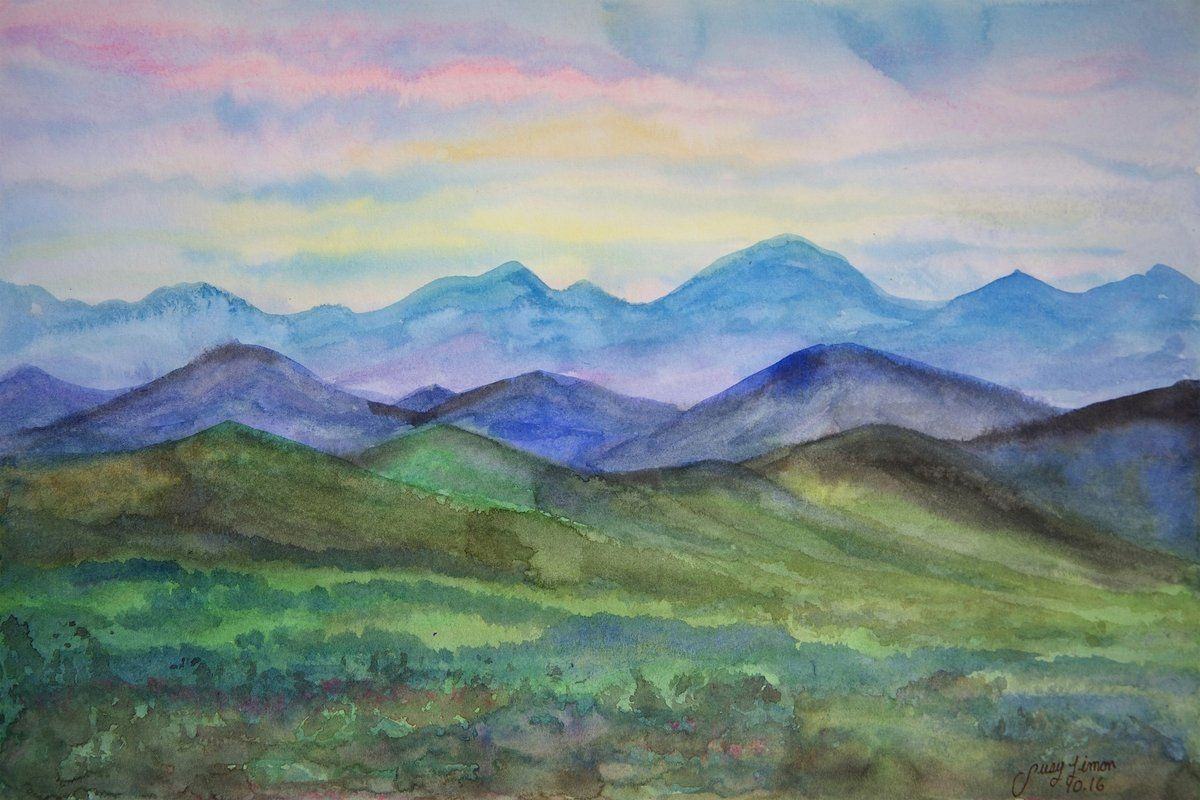 Behind The Mountains Watercolor Painting Print On Wrapped Canvas