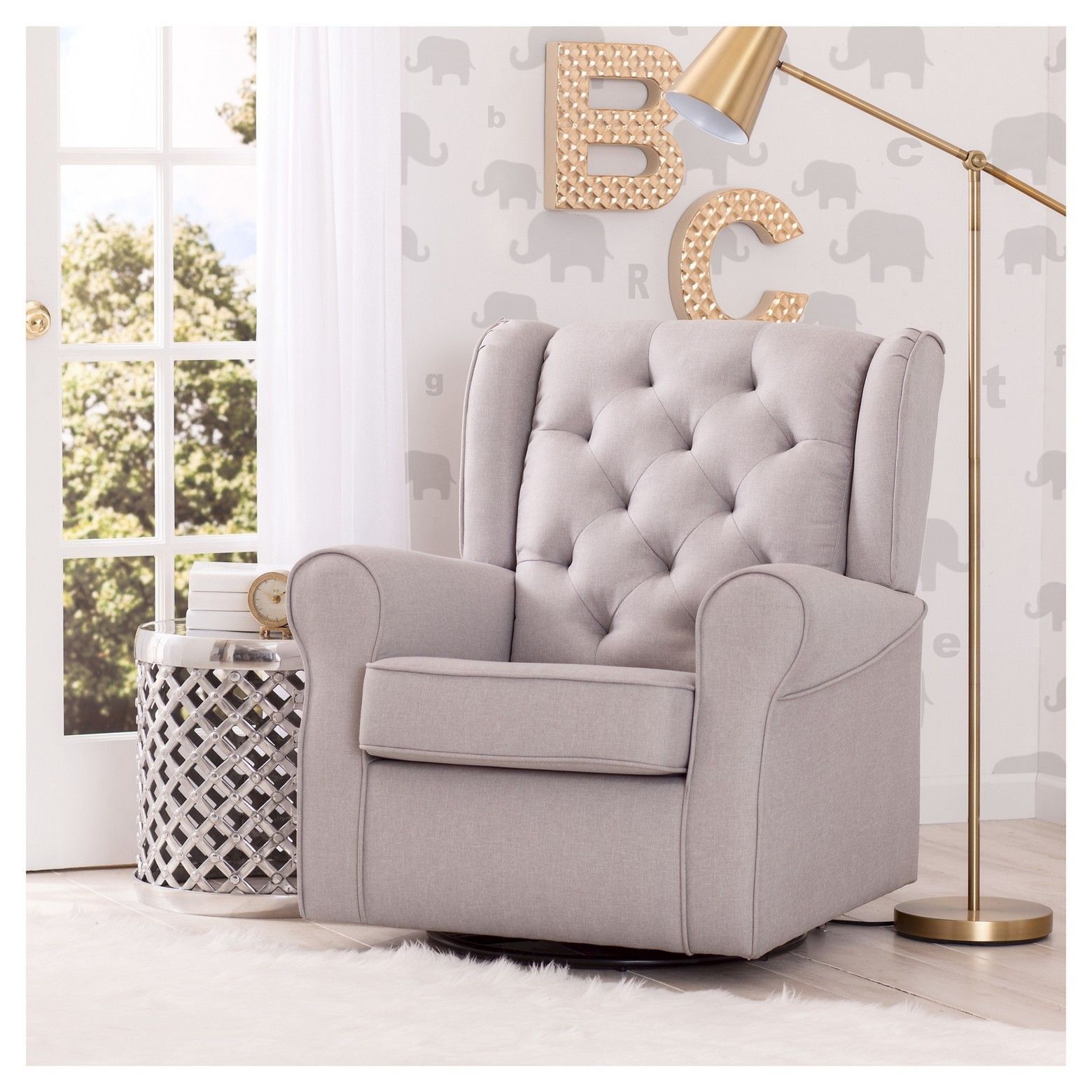 Baby Relax Zoe Tufted Rocking Chair Gray, Adult Unisex