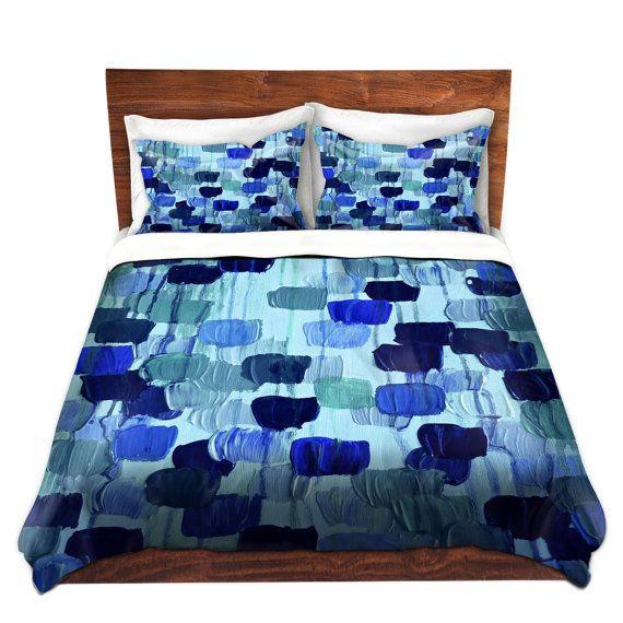 Dotty In Blue Art Polka Dots Duvet Cover King Queen Twin Turquoise Navy Indigo Royal Blue Decor Bedding Fl Home Decor Bedding Duvet Cover Sets Home Goods Decor