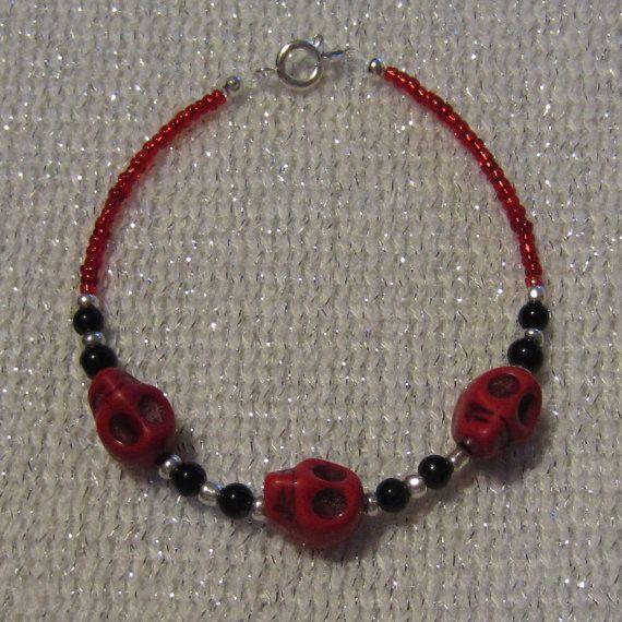 Red Skull Bracelet by SummerCAmber on Etsy, $11.50
