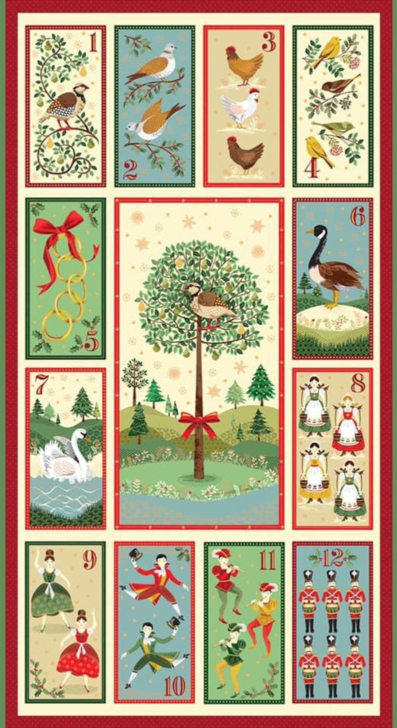 Sale Makower Christmas Panels Advent Etsy Twelve Days Of Christmas 12 Days Of Xmas 12 Days Of Christmas