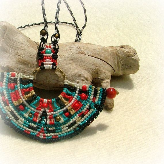 Mayan micro macrame necklace with red coral beads