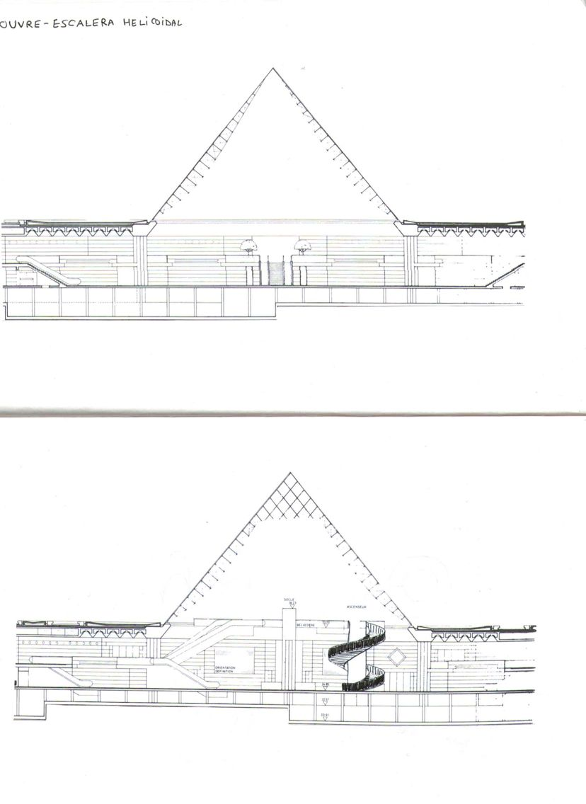 Pirámide de Pei, Museo de Louvre, ParÍs, Francia.   Planimetría ...