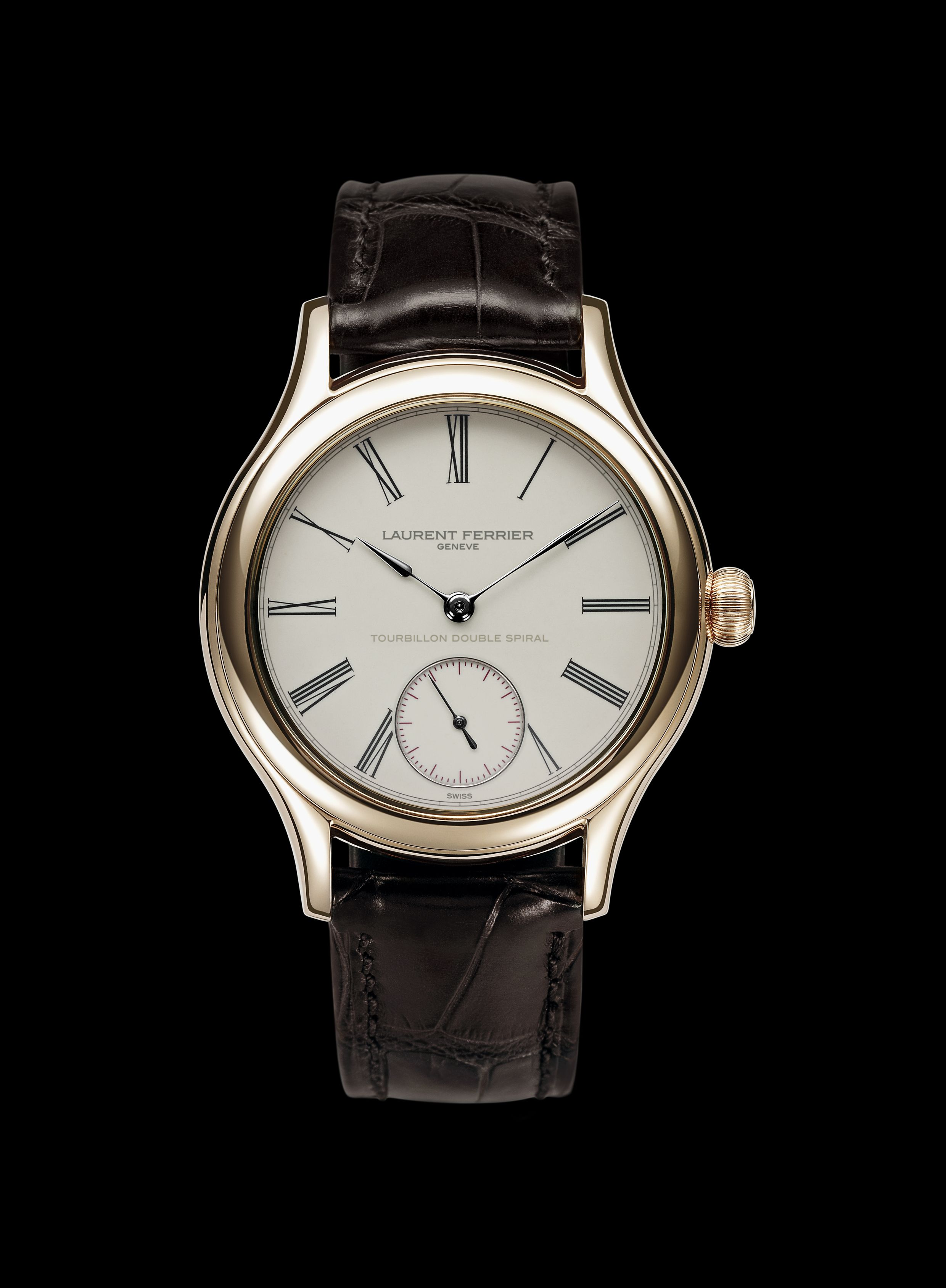Ivory Colored Enamel Dial Laurent Ferrier Luxury Timepieces Mens Watches Leather
