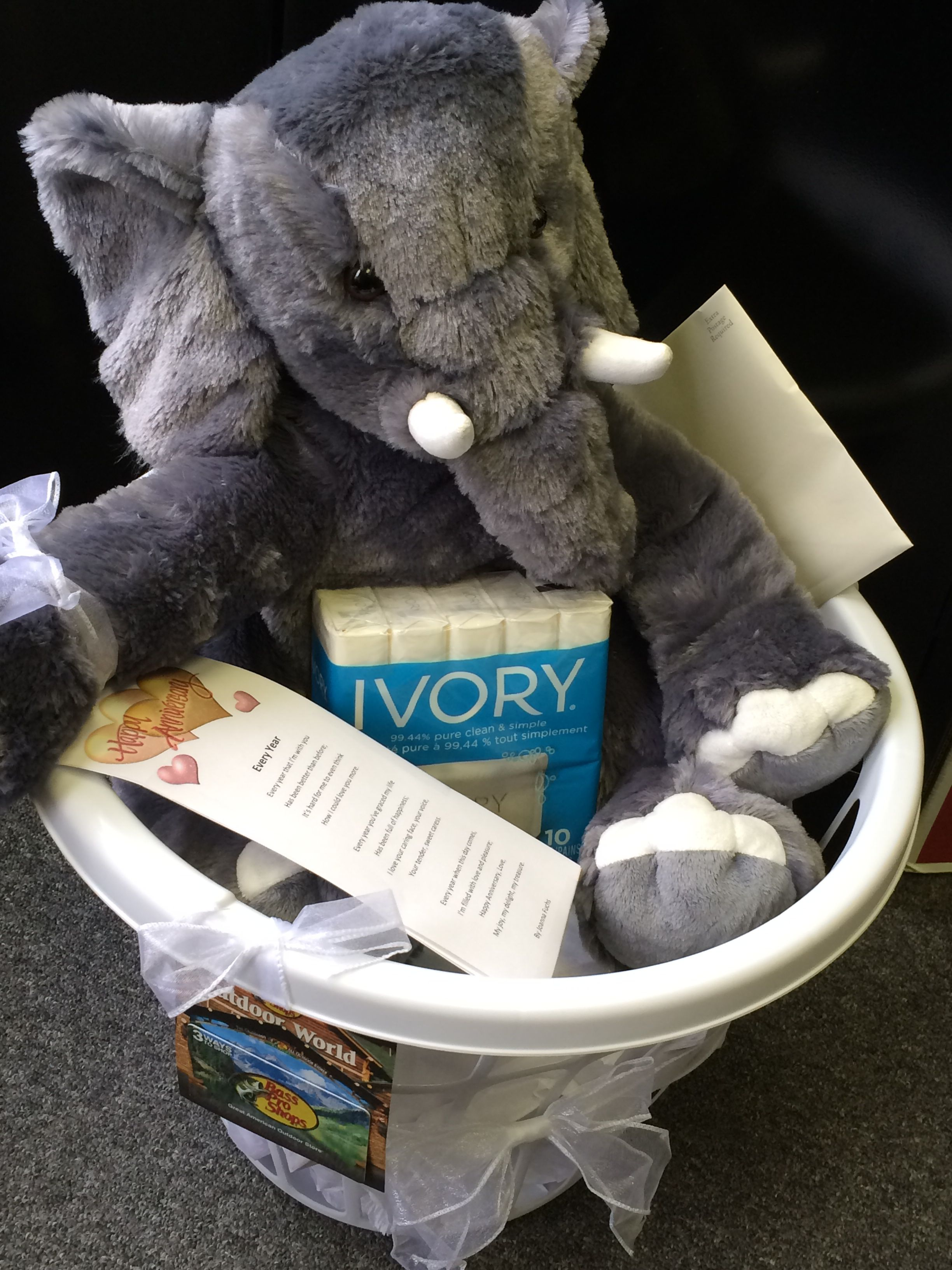 14th Anniversary Gift Ivory Is 14 Year Idea And So I Did A Little Spin On This With Soap Stuffed Elephant Basket