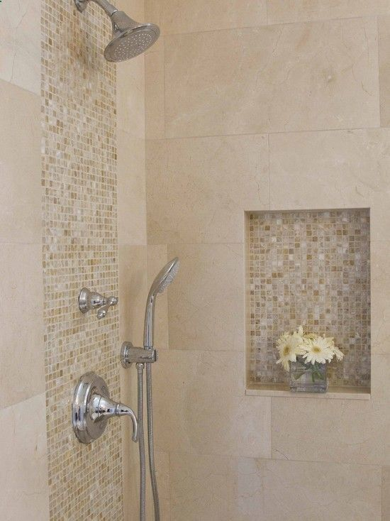 Large Travertine Tiles With Small Accent Gl Or Mosaic