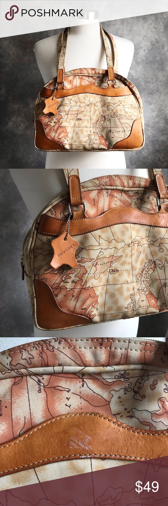 Vintage World Map Atlas Print Satchel Shoulder Bag Fred's ... on map shoes, map luggage, map boots, map crossbody, map skirt, map phone case, map jacket, map scarf, map white, map trunk, map suitcase, map wallet, map sweater,