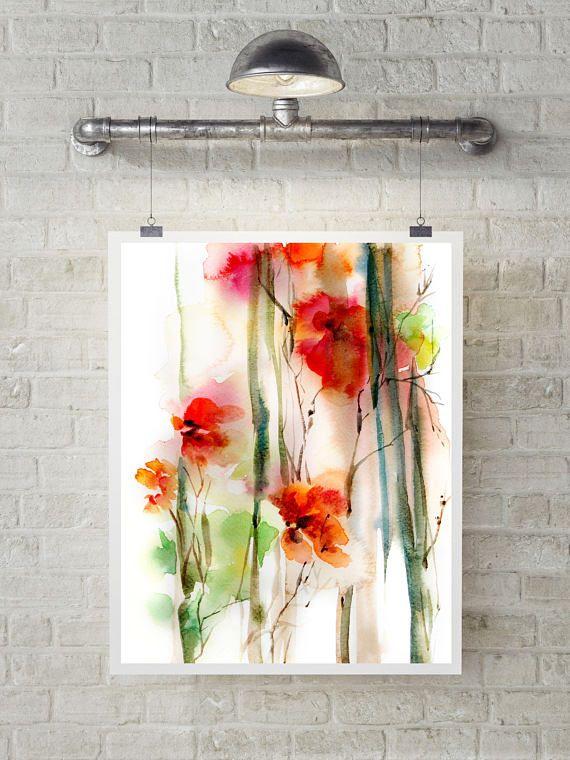 Abstrakte Blumen Kunstdruck, Rote Blumen, Aquarell Malerei Kunst,  Aquarell Druck, Abstrakte