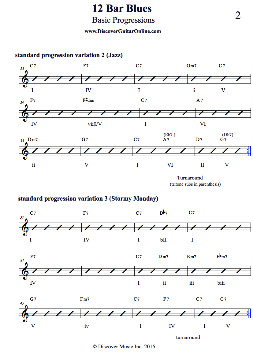 Chord Progressions 12 Bar Blues Pg2 Discover Guitar Online Learn To Play Guitar Guitar Lessons For Beginners Guitar Lessons Guitar Songs