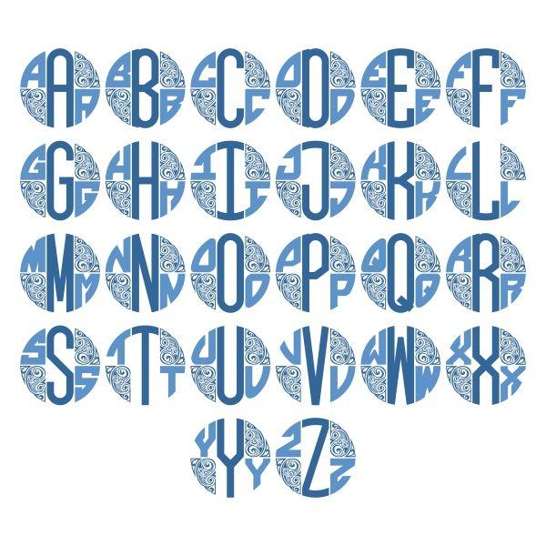 Paisley Monogram Cuttable Design Cut File Vector Clipart Digital