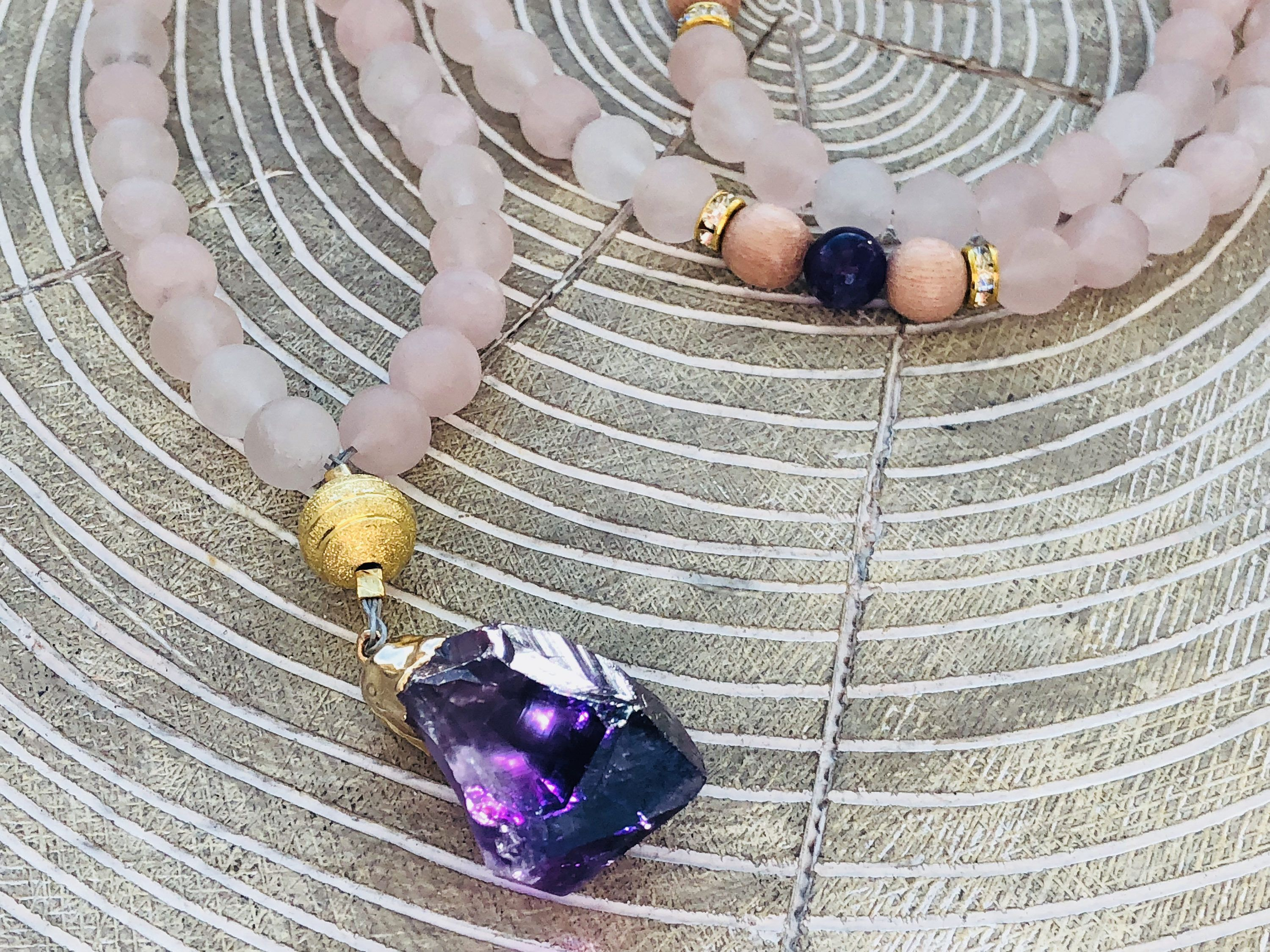 Matte rose quartz amethyst and wood diffuser mala necklace raw matte rose quartz amethyst and wood diffuser mala necklace raw amethyst pendant http aloadofball Image collections