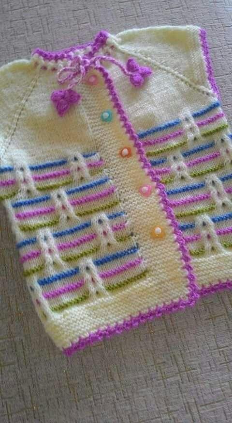 Colorido chaleco | dos agujas | Pinterest | Tejido, Bebe y Bebé