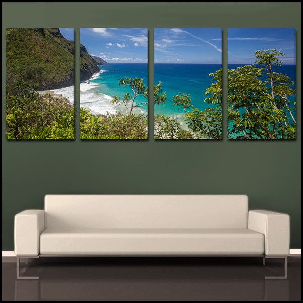 Ke E Beach Coastal Overlook Kauai Tropical 4 Piece Fine Art Canvas Wall Display Epic Wall Art Wall Canvas Beach Canvas Wall Art