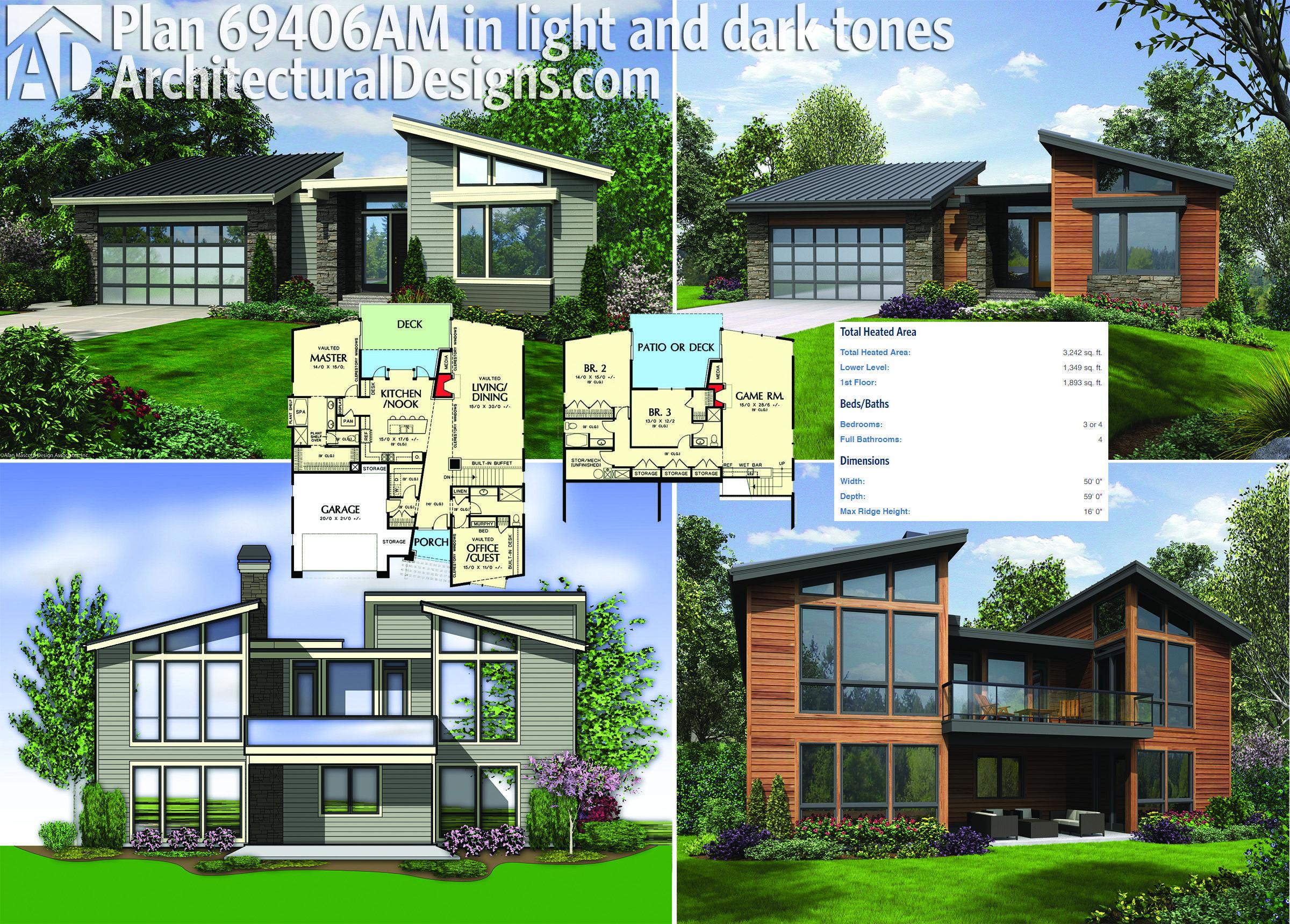 Architectural Designs Modern House Plan 69406AM is