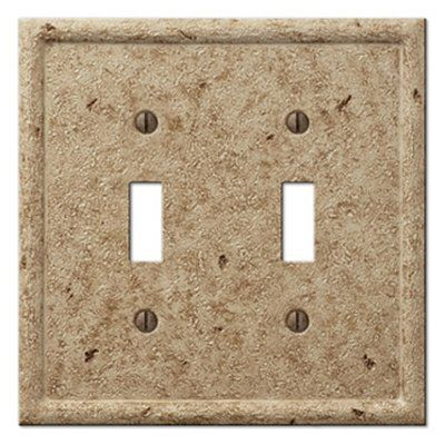 Montage Tumbled Stone 2 Gang Standard Toggle Wall Plate