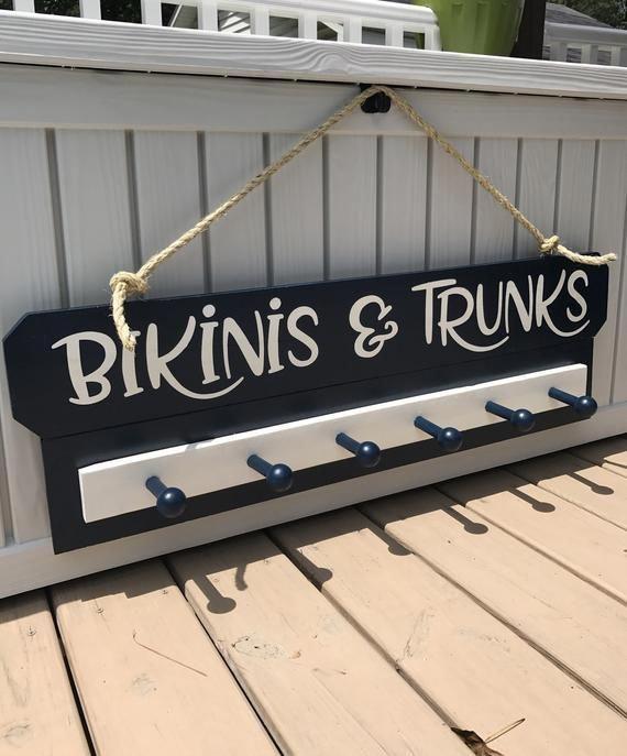 Photo of Beach Decor Sign Custom Beach House Name Towel Rack for Beach Lake house Decor Beachhouse Lake House Sign Nautical Decor