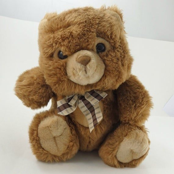 Vintage 80s Chosun Bear Plush Toy, Tan Teddy Bear, Stuffed Animal, Bear Plushie, Stuffed Bear Toy, S #bearplushtoy
