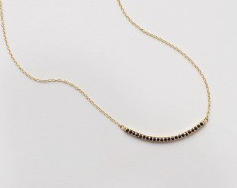 Curved Bar Gold Necklace Dainty Minimal Simple