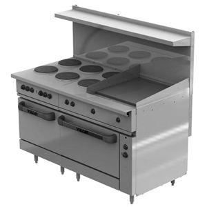 Vulcan Ev60ss 6fp24g Electric Restaurant Range 60 6 Face Plates 24 Griddle 2 Ovens Commercial Ranges French Tops Bakedeco Com