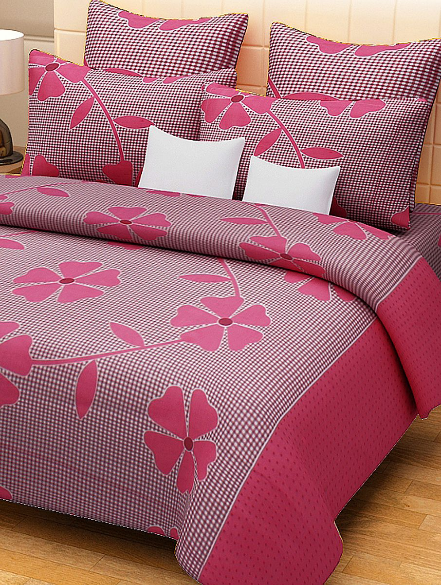 Fuschia Flower U0026 Check Pattern Double Bed Sheet With Set Of 2 Pillow Cover.