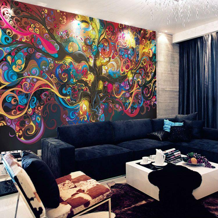 Schicken Mehr Tapeten Information über Baum Des Lebens Fototapete  Psychedelic Tapete Kundenspezifische 3D Wandbild Kunst Schlafzimmer