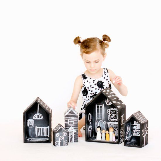 Easy to make, chalkboard doll houses!