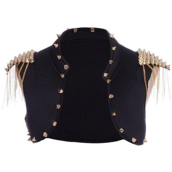 Anna-Kaci S/M Fit Black Major Lady Danger Gold Spike Stud Embellished... ($29) ❤ liked on Polyvore