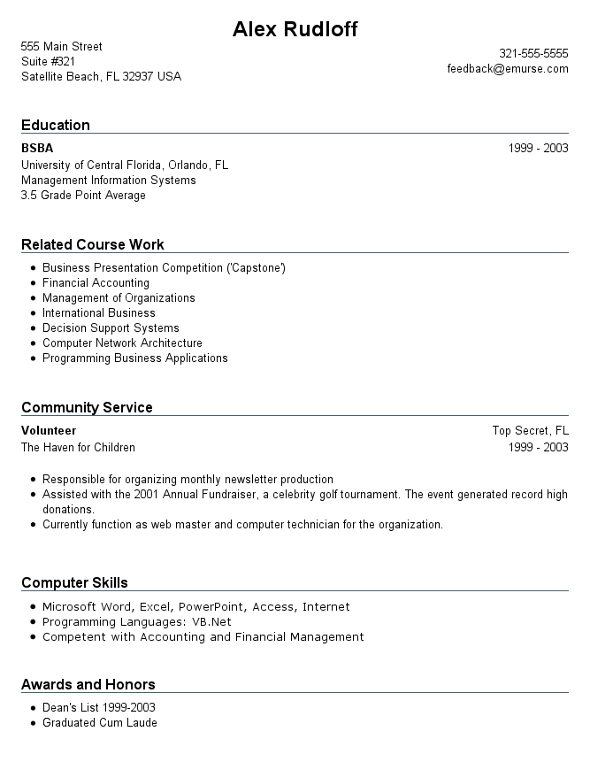 resume example for student with no work experience