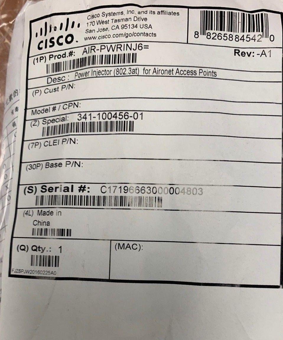 Router Power Supplies 67287 Cisco Aironet Air Pwrinj6 Power