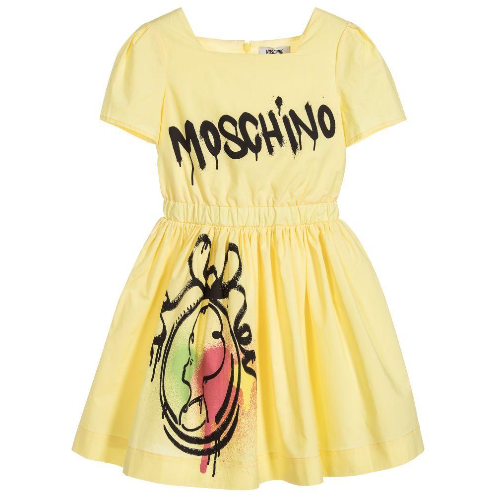 Moschino kidteen girls yellow mirror dress dresses kids