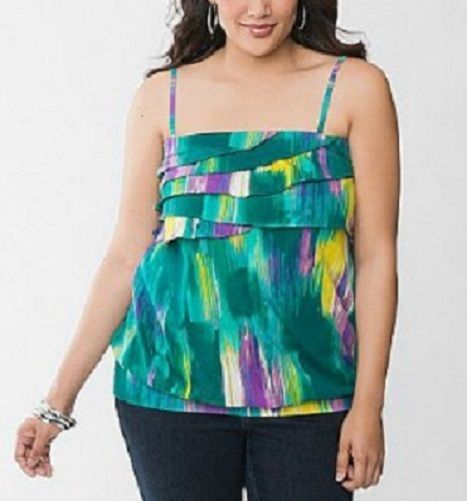 Part of Lane Bryant's Fun & Flirty collection. It is a ruffled tube top with optional straps..Elasticized band at the top and banded bottom. Fun multicolor print makes this a great versatile item. Consider pairing it with jeans or use as a layering piece for work. If you would like to see more p...