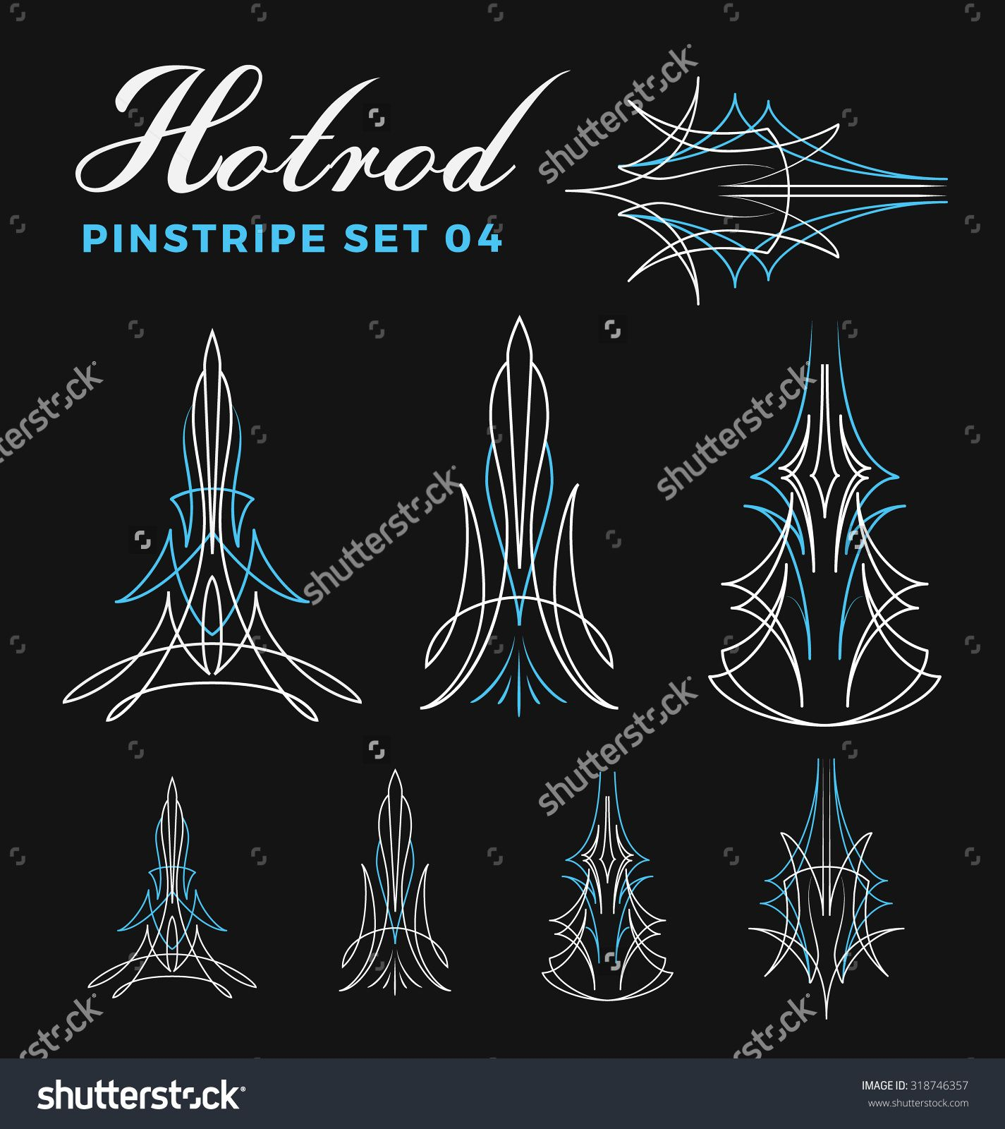 Set Of Vintage Pin Striping Line Art. Include UnExpand