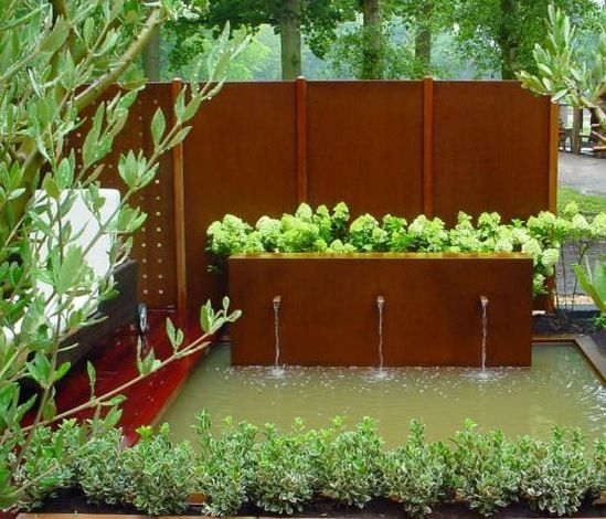 Outdoor Decorative Garden Large Water Fountain For Corten Steel