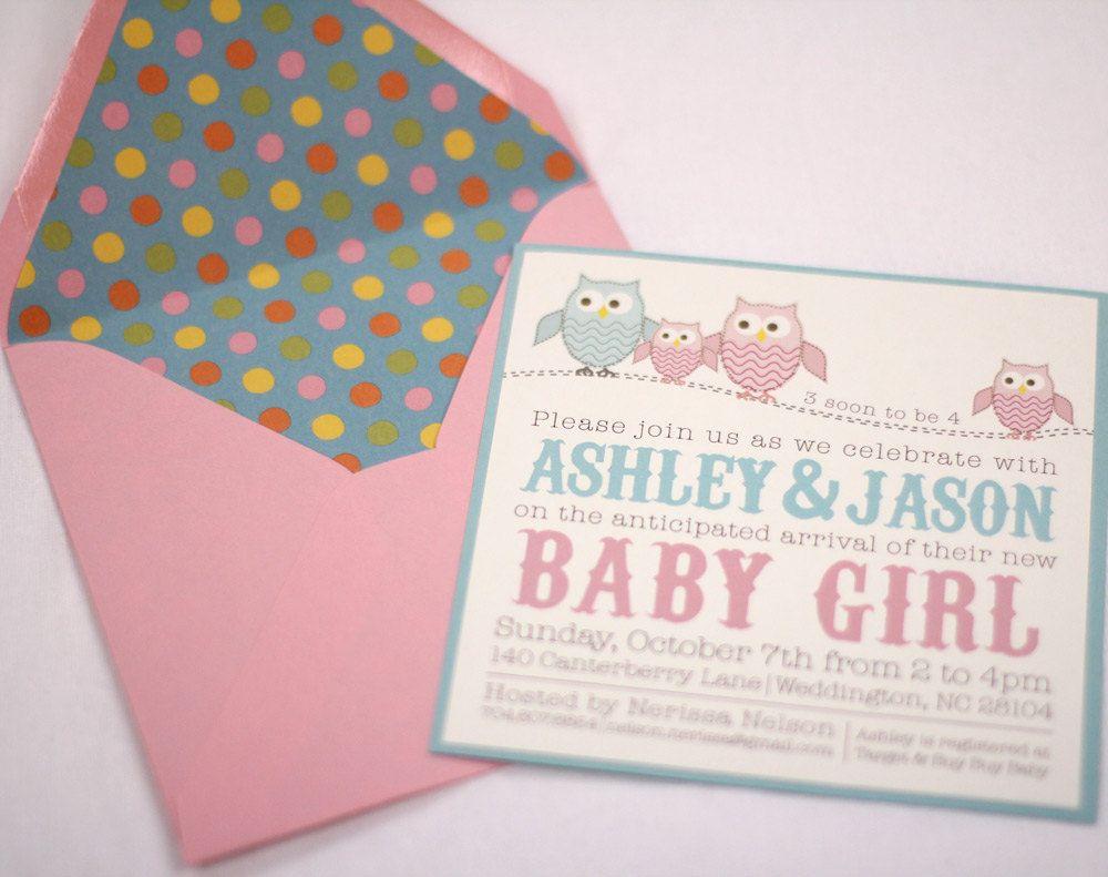 Owl Baby Shower Invitations by AMGDesignCo on Etsy, $2.75