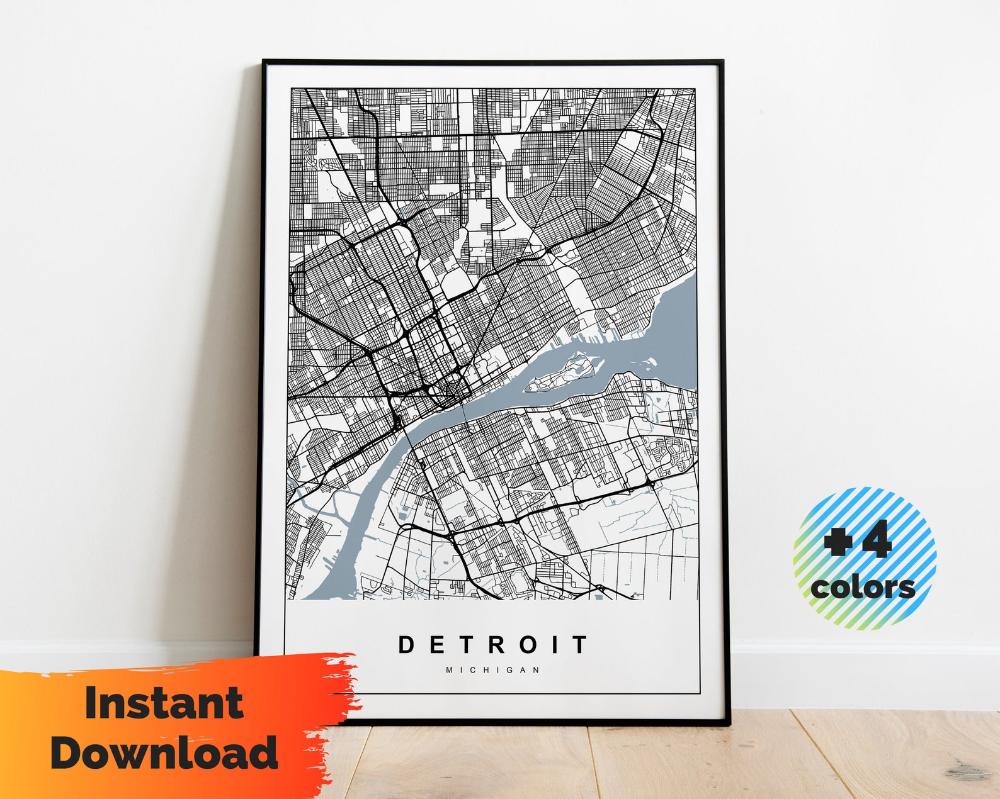 Us Travel Map Download Detroit Map Digital 4x Printable Instant Download City Poster Art