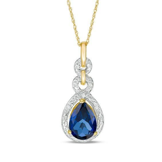 Zales Oval Lab-Created Blue Sapphire and Diamond Accent Loop Pendant in Sterling Silver qCgwK