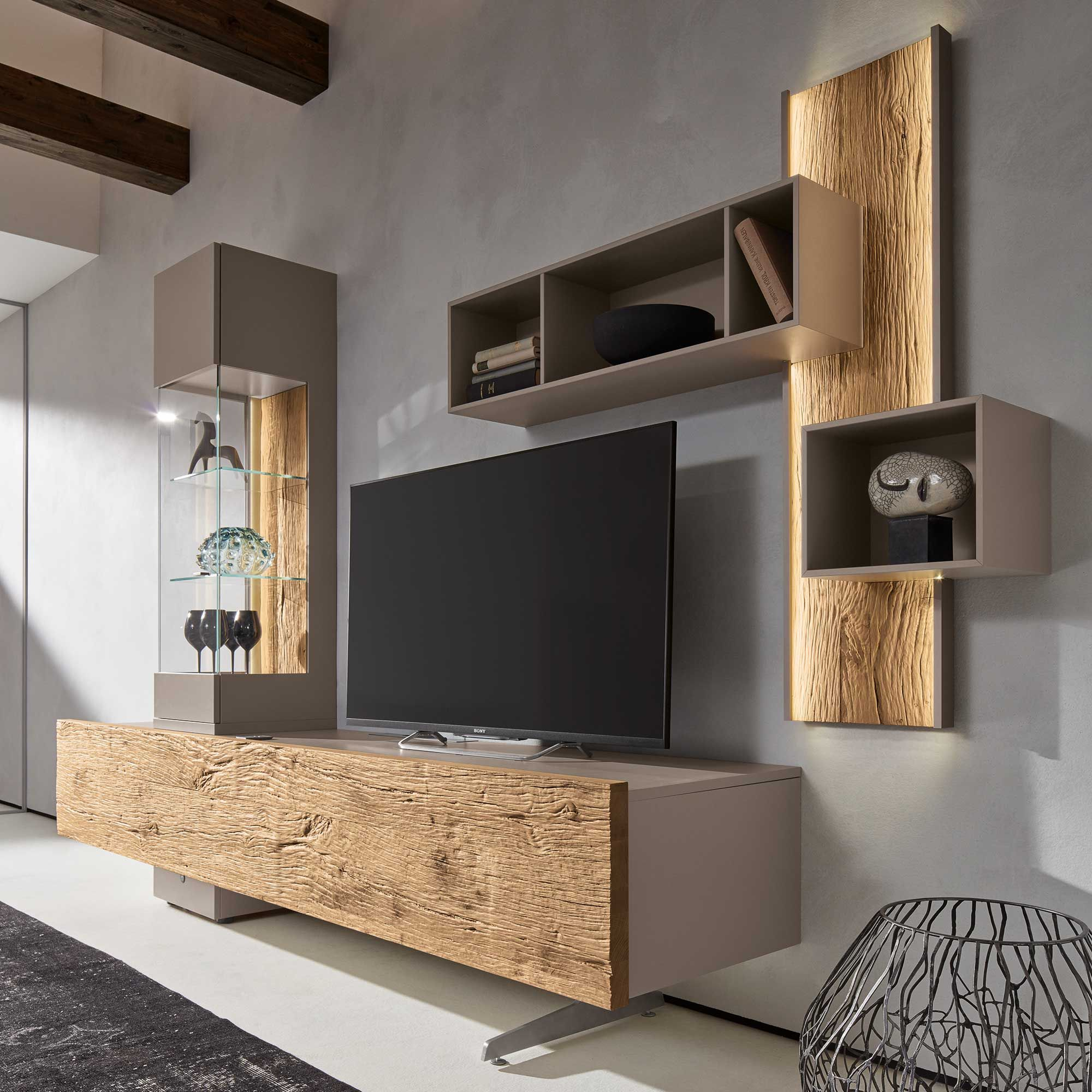 Bohle combination tv wall unit oak glass barker - Wall units for living room mumbai ...