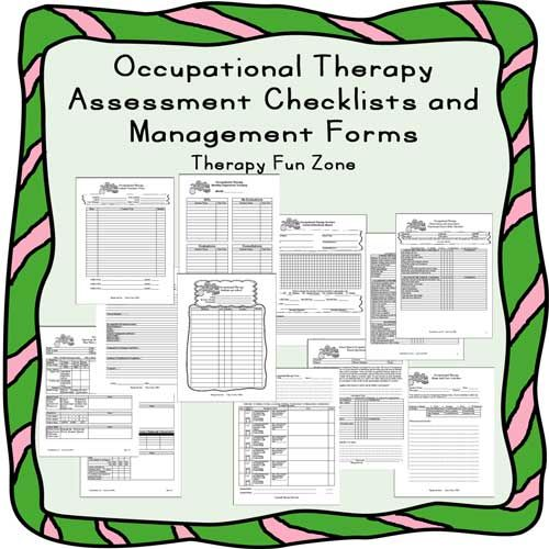 OT Checklists and Management Forms Therapy, Management and Board - assessment forms templates