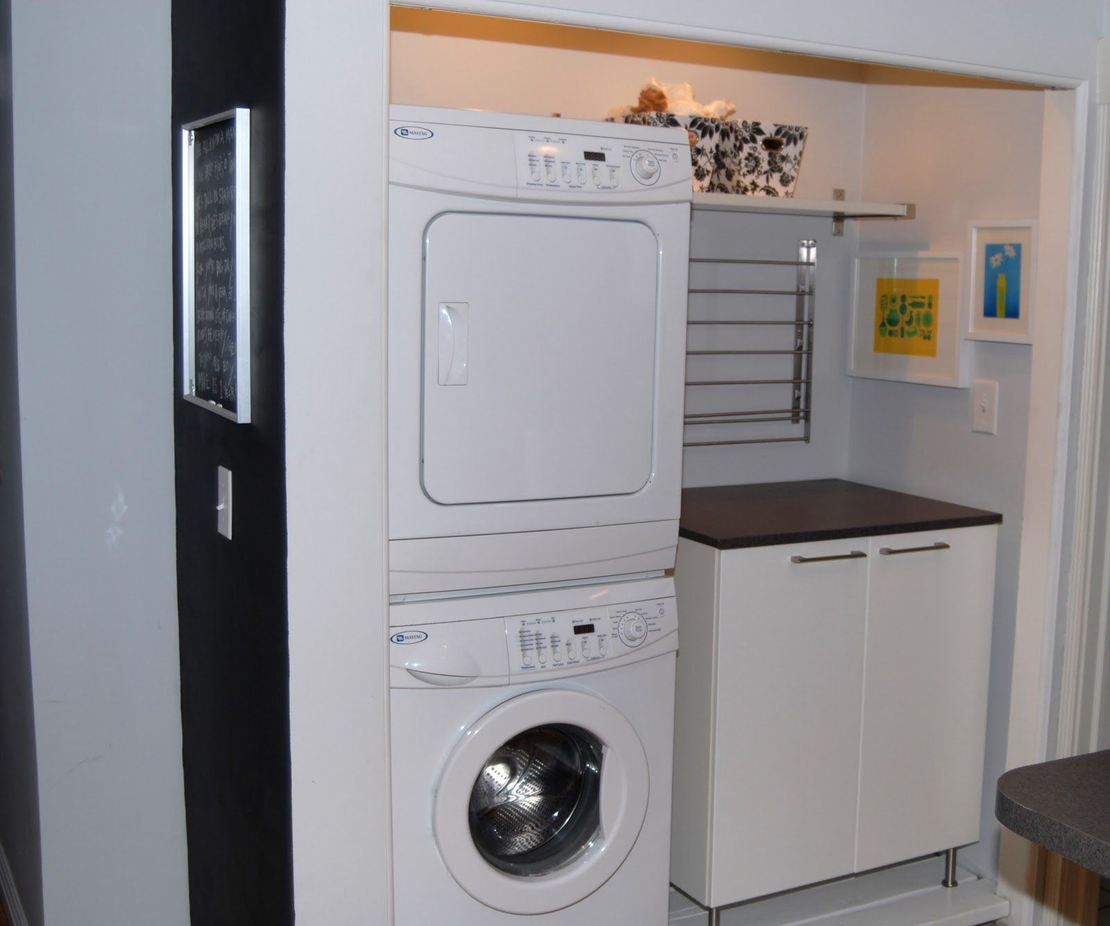 furniture saving small spaces laundry room design using stacked washer dryer and wood wall mounted overhead shelving units over cabinet with stainless steel - Small Washer And Dryer
