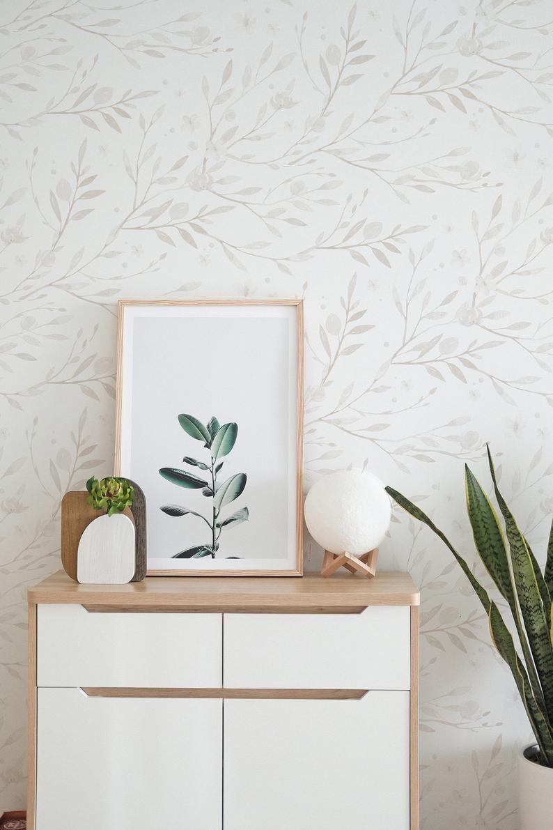 Minimal Floral Wallpaper Linen Color Wallpaper Peel And Etsy Peel And Stick Wallpaper Floral Wallpaper Tile Wallpaper