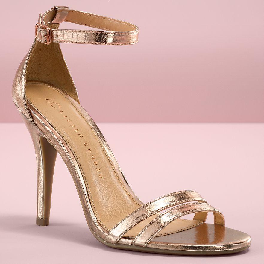 Ankle strap high heels, Rose gold heels