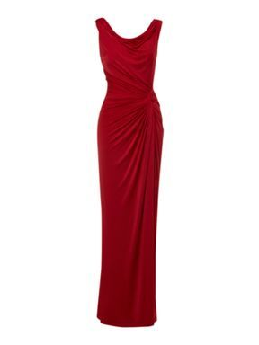 Red maxi dress with cowl back wedding