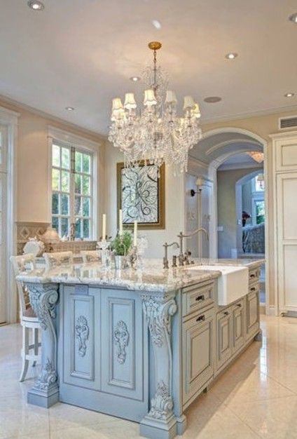 Romantic Country Kitchen Decor loving all of the detail on this amazing kitchen island! | dream