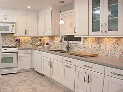 image of kitchen tile ideas with white cabinets - Kitchen Tiling Ideas