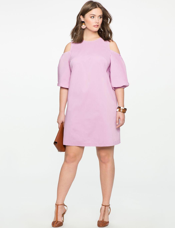 Cold Shoulder Puff Sleeve Dress | Women\'s Plus Size Dresses ...