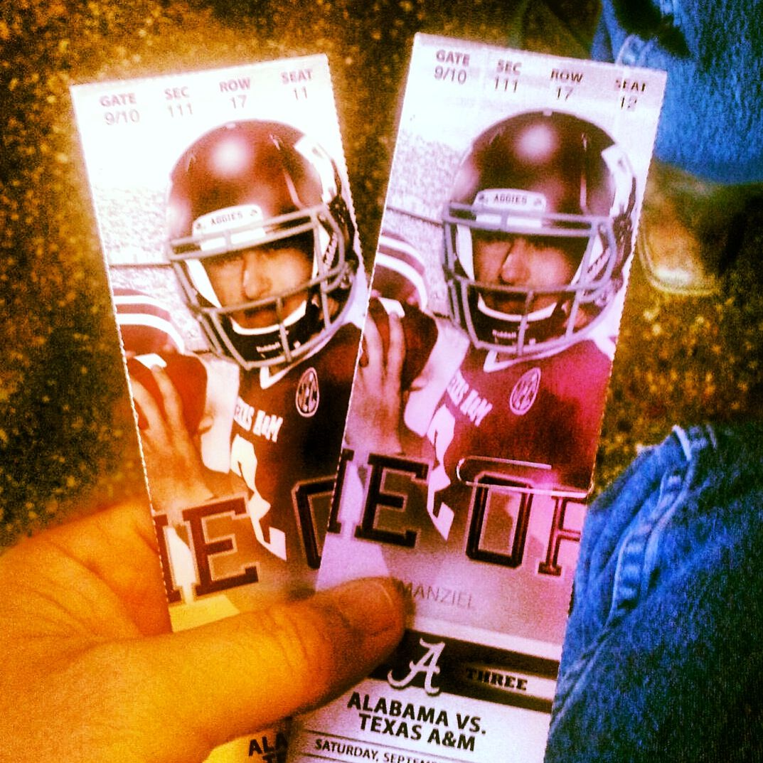 2013 Football tickets to the Texas A&M vs Alabama game at