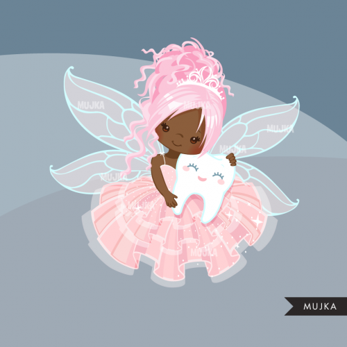Fairy african american. Tooth clipart cute graphics