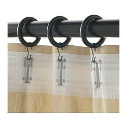 Portion Curtain Ring With Clip And Hook Black Stained Ikea